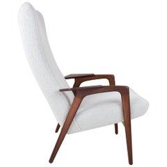 Scandinavian Modern Yngve Ekström Ruster Chair in Teak with New Grey Fabric