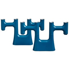 Pair of Blue Modular Candleholders, 1960s