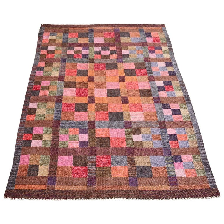Colourful Swedish Flat Weave Rug For