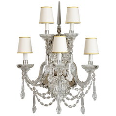 18th Century Style Crystal and Blown Glass Five-Light Wall Sconce
