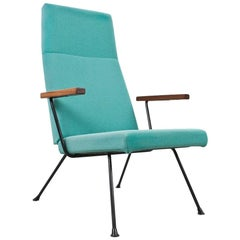 Mid-Century Modern Lounge Chair 1410 by A.R.Cordemeyer in Black Metal and Blue