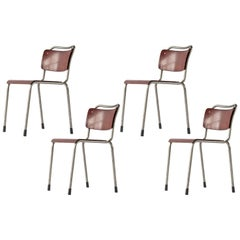 Set of Four Dutch Industrial Gispen School Chairs in Grey Metal, Brown Plywood