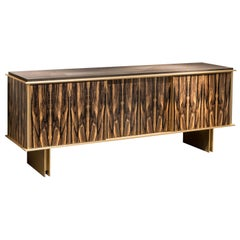 Contemporary Plumage Sideboard in Royal Ebony Veneer and Brushed Brass Elements