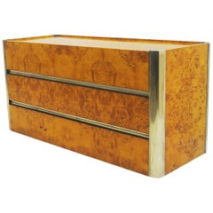 Chest of Drawers in Brass and Burr Wood, circa 1970s