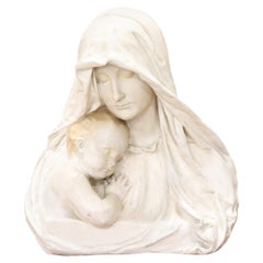 20th Century Italian Sculpture Madonna with Child in Plaster