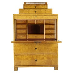 Biedermeier Period Secretary, circa 1830, Germany, Maplewood Veneered