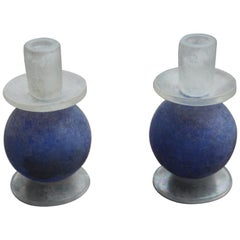 Cenedese Pair of Candlesticks in Blue Murano Glass Ball Opaque Italian, 1960s