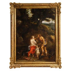 18th Century Oil on Canvas French Mythological Painting Meleager and Atalanta