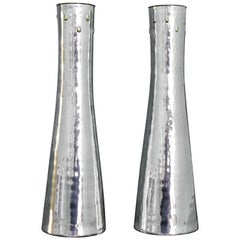 20th Century Hammered Silver Gold Drops Vases Brandimarte Italy Florence, 1970