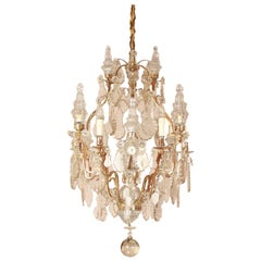 Large French Louis XV Style 16-Light Crystal-Cut Chandelier, circa 1900