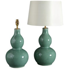 Pair of Celadon Porcelain Gourd Shaped Vase Lamps
