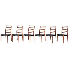 Niels Møller Model 82 Danish Rosewood Dining Chairs, circa 1970