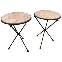 Superb Pair of Brass Faux Bamboo and Marble Top Side or End Tables