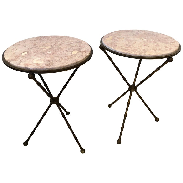 Superb Pair of Brass Faux Bamboo and Marble Top Side or End Tables For Sale