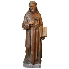 Large Cast Stone Figure of St. Francis of Assisi, Late 19th Century