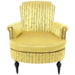 French 1930s Louis XVI Style Armchair in Damask Modern Fabric