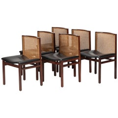 6 Tito Agnoli Rosewood Dining Room Chairs La Linea, 1960s