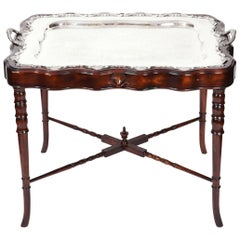 Vintage Mahogany Base Frame Silver Plate Tray Table