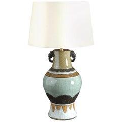 19th Century Celadon Crackle Glaze Vase as a Table Lamp
