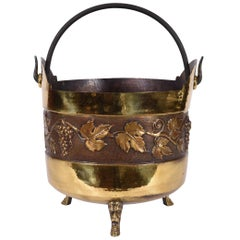 Vintage Greco Roman Style Copper Scuttle Fire Place Bucket