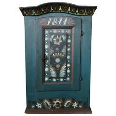 Original Blue Painted Antique Folk Art Swedish Cabinet