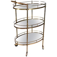 Vintage Three-Tiered Mirrored Shelves Wheeled Bar Cart