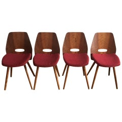 Midcentury Dining Chairs by Frantisek Jirak in Red, 1960s, Set of 4