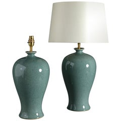 Pair of 21st Century Chinese Celadon Green Crackle Glazed Vases
