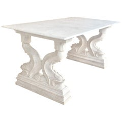 19th Center or Dining Table in Carrara Marble