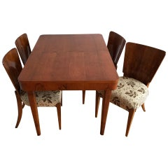 Art Deco Walnut Dining Set by Jindřich Halabala, 1940s