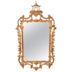 Early 20th Century Carved Wood Chippendale Style Beveled Hanging Wall Mirror