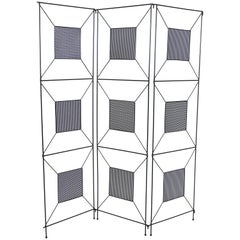 Frederick Weinberg Mid-Century Modern Geometric Iron Screen or Room Divider