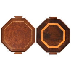 Mid-Century Modern Pair of Burlwood Barware or Serving Trays
