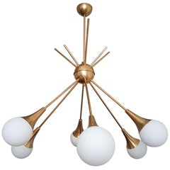 2 Large Midcentury Brass and Glass Sputnik Chandeliers, Stilnovo Style, 1970s