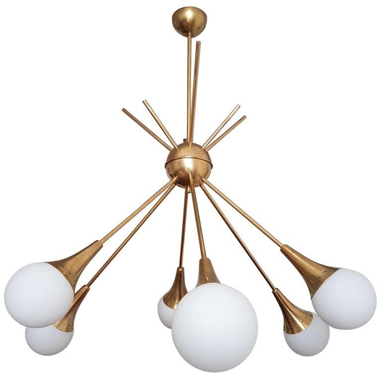 2 Large Midcentury Brass and Glass Sputnik Chandeliers, Stilnovo Style, 1970s