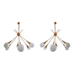 Two Large Midcentury Brass and Glass Sputnik Chandeliers, Stilnovo Style, 1970s