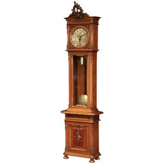 19th Century French Louis XV Carved Walnut Grandfather Clock from Lyon