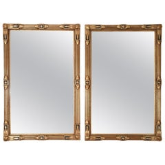 Vintage Matching Pair of Giltwood Frame Hanging Wall Mirrors