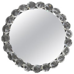 Round Bakalowits Midcentury Diamond Crystals Backlit Wall Mirror, Austria, 1950