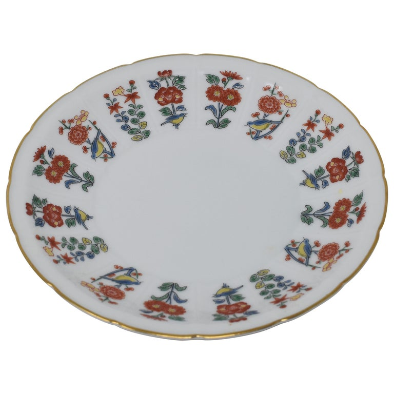 Set of Contemporary Gilded Hand Painted Blue Red Imari Porcelain Dessert Plates