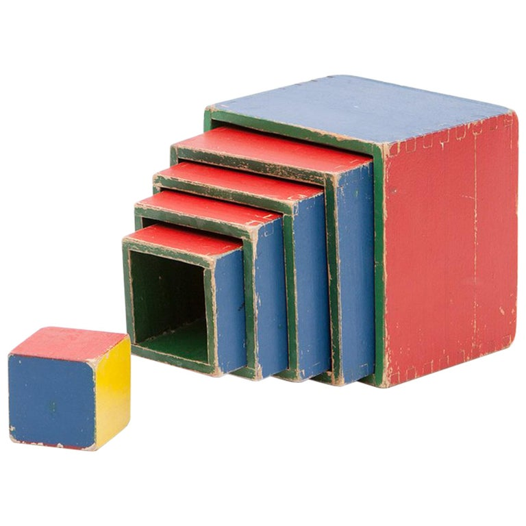 1950s Colorful Wooden Cube Set Made in West Germany by Steiff For Sale