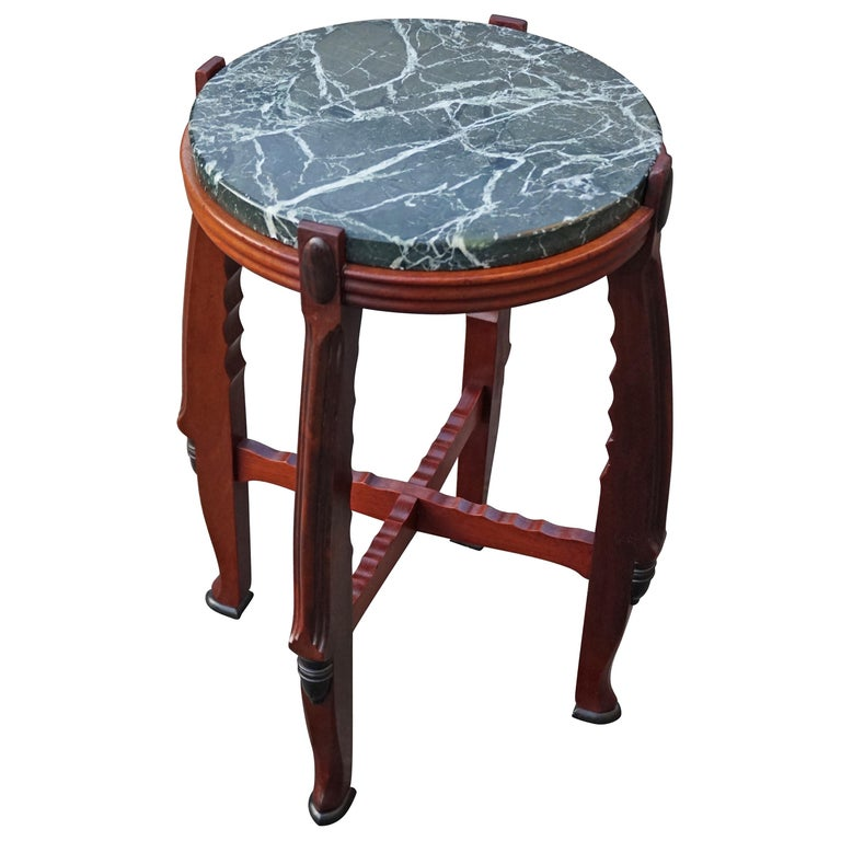 Mahogany and Marble Arts and Crafts Wine Table / Plant Stand / End Table For Sale