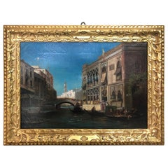 Beginning of 1800 Oil on Canvas View of Venice
