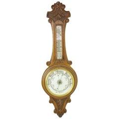 Antique Barometer, Aneroid Barometer, Walnut Barometer, Scotland, 1890