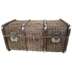 Wicker and Brass Bentwood Banded Trunk, 1920s