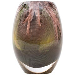 Glass and Copper Mesh Vase by Omer Arbel for OAO Works, Olive Green