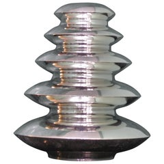20th Century Geometrical Art Deco Italian Silver Vase, 1930s