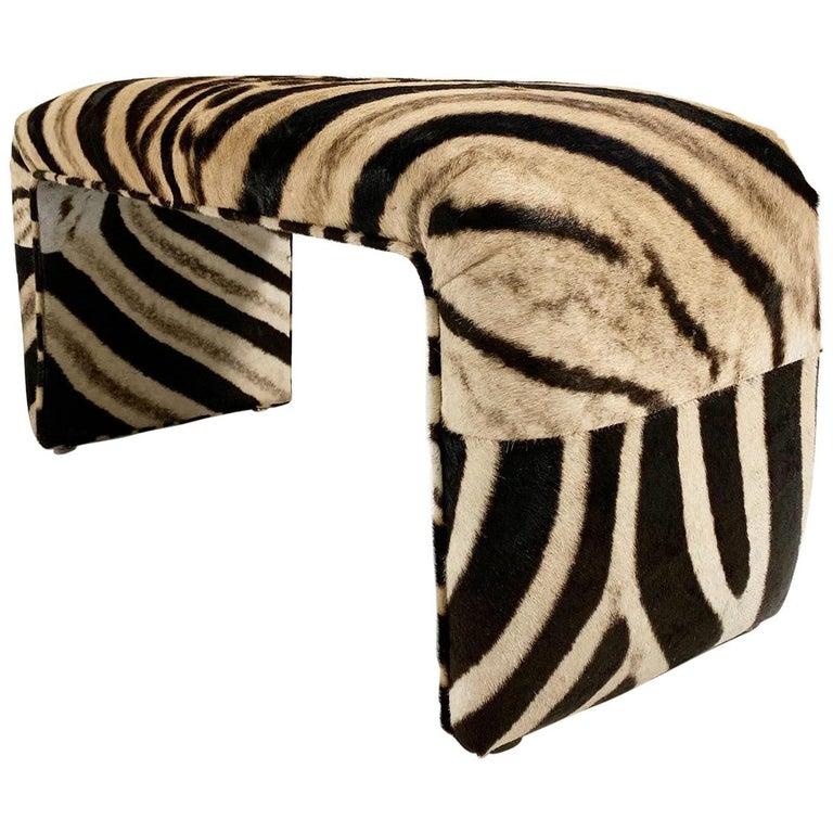 Vintage Waterfall Bench Restored in Zebra Hide