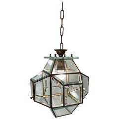 1950s Glass and Brass Lantern Attributed to Fontana Arte, Italy Lighting