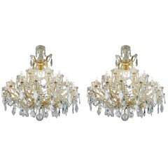 Pair of Italian Maria Theresa Twentyfive Light Crystal Chandeliers 20th Century